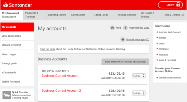Screenshot from Online Business Banking showing the transfer journey in the apply box on the right hand side